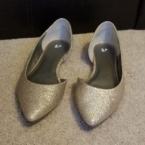 BP d'Orsay platinum sparkle flats, size 12